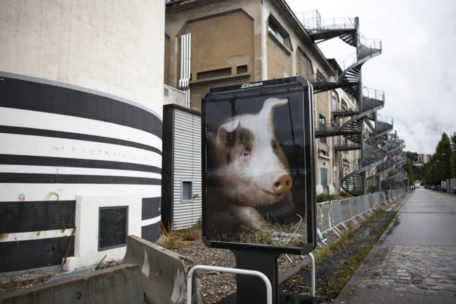 Devant La Sucrière, une affiche de la 12e Biennale de Lyon, réalisée à partir d'une photographie de Roe Ethridge.