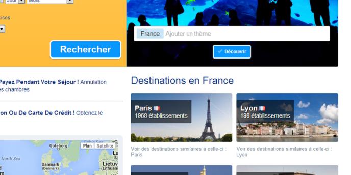 Page d'accueil du site Booking.com, plateforme de réservation en ligne.