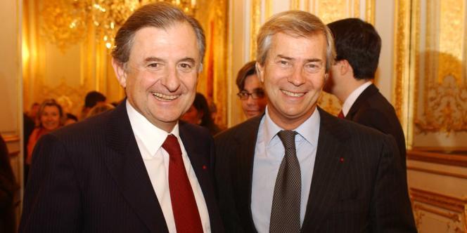 Jean-René Fourtou (à gauche) et Vincent Bolloré, en 2006.