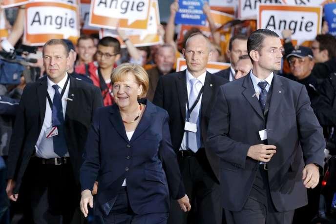 La chancelière Angela Merkel juste avant le débat télévisé qui l'a opposée à son adversaire, Peer Steinbrück, le 1er septembre.