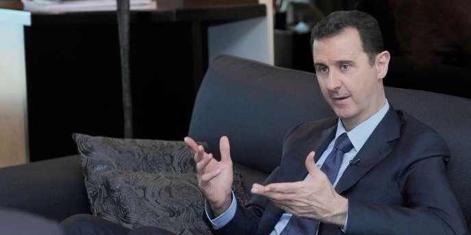 Bachar Al-Assad lors d'une interview avec un journal russe à Damas, le 26 août.