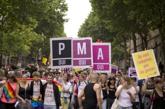 Au cours d'une manifestation en soutien à la PMA (procréation médicalement assistée), à Paris, le29juin.