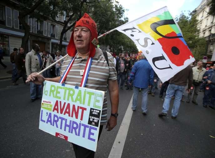 Manifestation contre la réforme des retraites, à Paris, mardi 10 septembre.