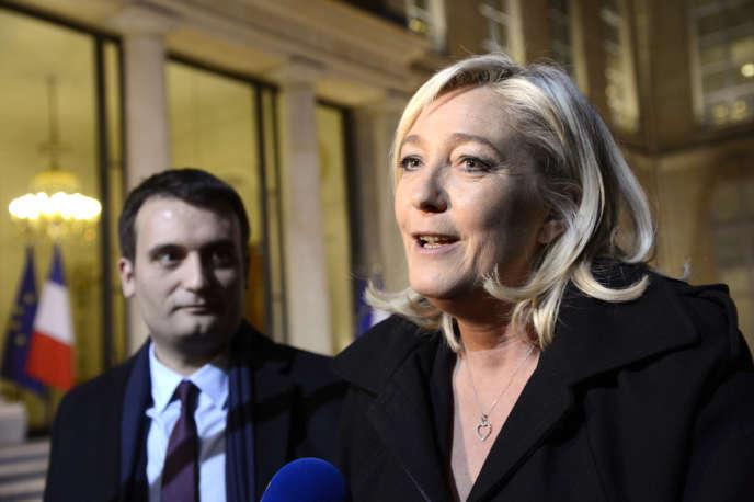 Marine Le Pen et Florian Philippot, présidente et vice-président du Front national, à la sortie de l'Elysée, le 30 novembre 2012.