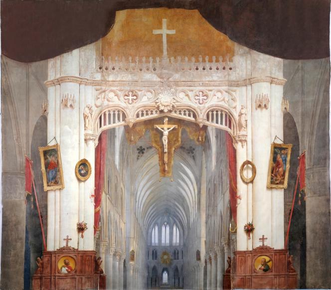 Bry-sur-Marne. Dans l'église, le diorama de Daguerre après restauration.