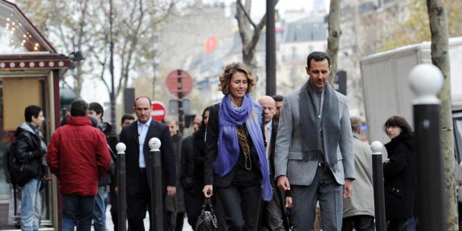 Asma et Bachar Al-Assad à Paris, le 10 décembre 2010.