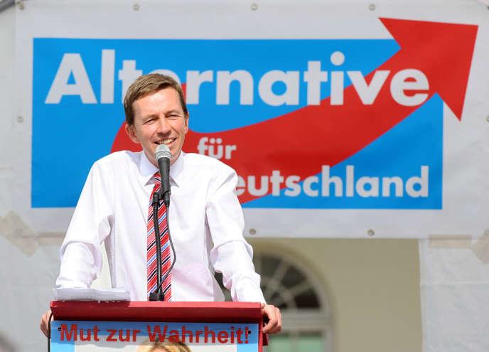 Bernd Lucke, cofondateur du parti eurosceptique allemand AfD, lors d'un meeting électoral le 25 août.