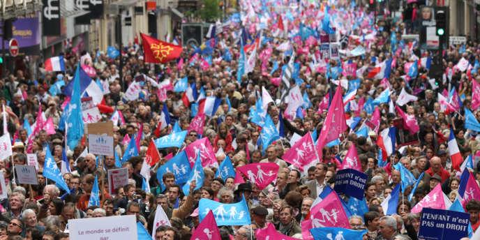 Un cortège de la Manif pour tous, le 26 mai 2013 à Paris.