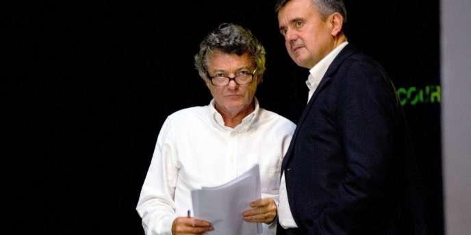 Jean-Louis Borloo et Yves Jégo, le 14 septembre à l'université d'été de l'UDI.