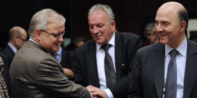 Olli Rehn et Pierre Moscovici, en mar 201