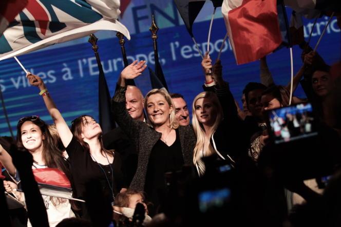 Marine Le Pen lors de l'université d'été du Front national, à Marseille, le 15 septembe.