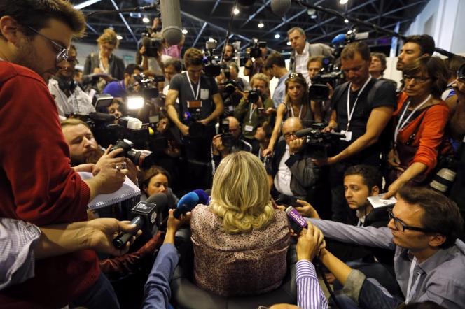 Marine Le Pen lors de l'université d'été du Front national, le 14 septembre.