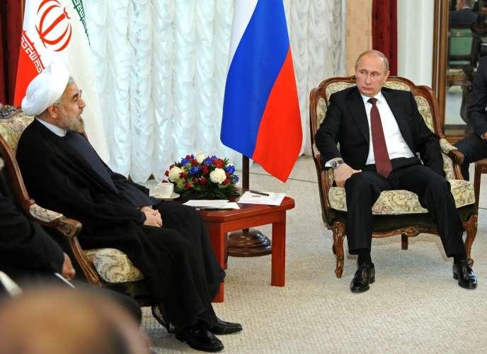 Hassan Rohani et Vladimir Poutine, le 13 septembre à Bichkek.