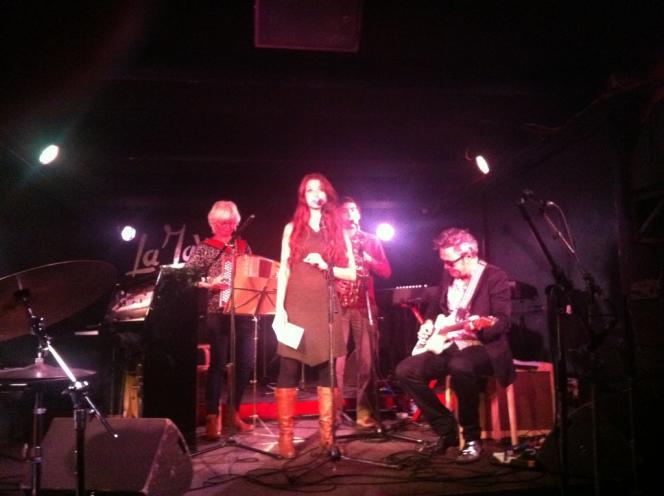 Michèle Buirette, Elsa Birgé, Antonin-Tri Hoang, Hervé Legeay à la Java pour l'hommage à Bernard Vitet, le 16 septembre 2013.