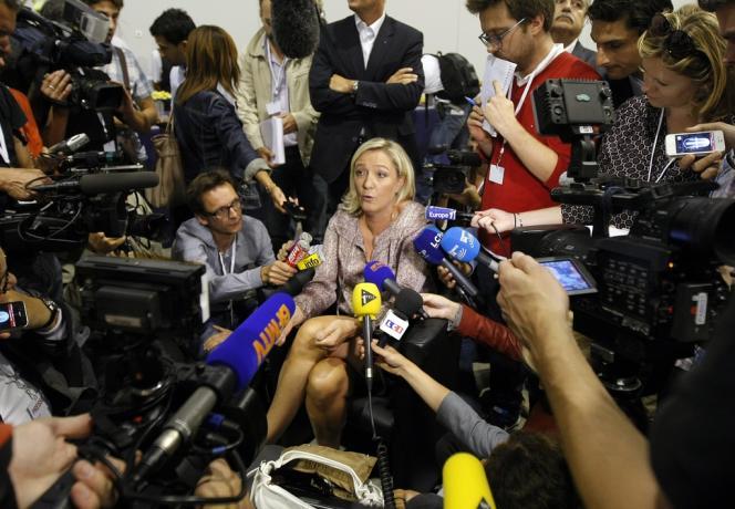 Marine Le Pen, lors des universités d'été du Front nationale, le 14 septembre à Marseille.