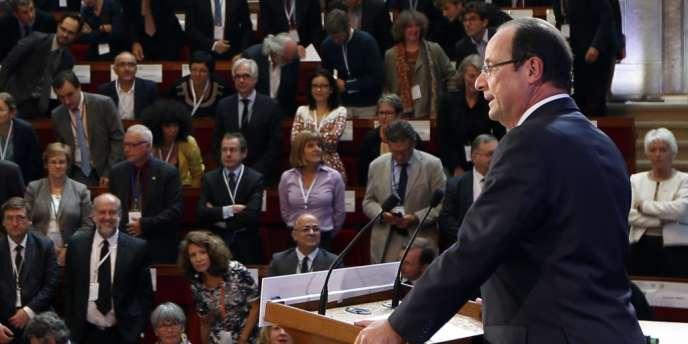 François Hollande lors de la deuxième conférence environnementale au Palais d'Iéna, le 20 septembre 2013.