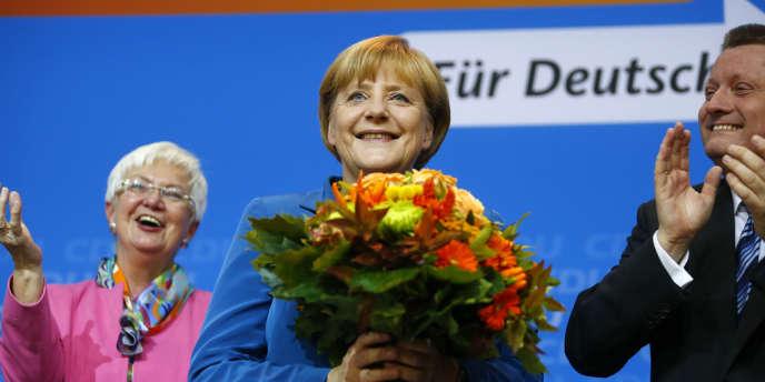 Angela Merkel au siège de la CDU, dimanche 22 septembre.