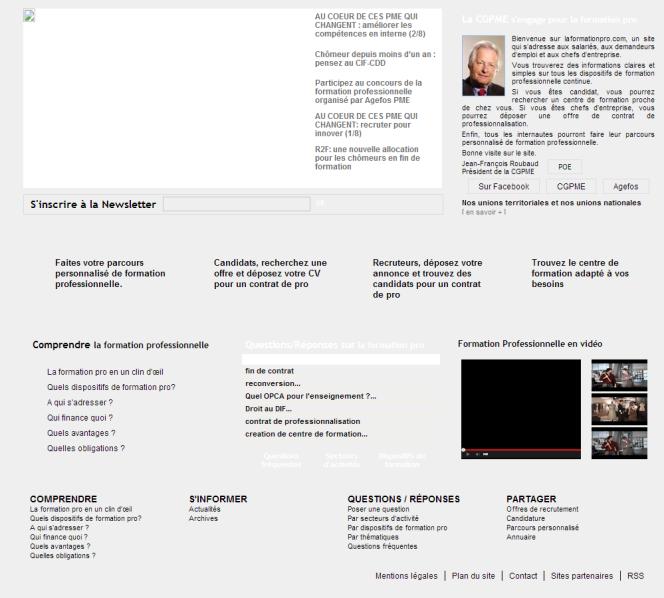 Le site laformationpro.com à la mi-2001.