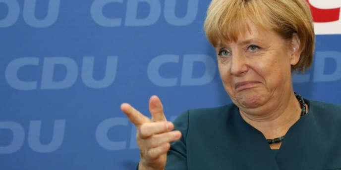 Angela Merkel, le 23 septembre, à Berlin, lors d'une réunion de cadres de la CDU.