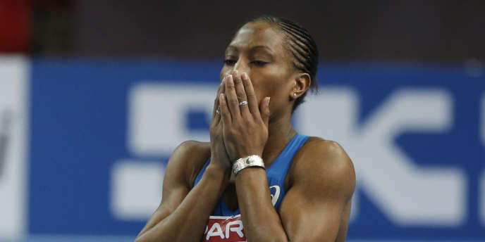 Alice Decaux, lors des Championnats d'Europe d'athlétisme en salle, le 1er mars à Göteborg (Suède).