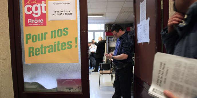 Dans le locaux de la CGT-SNCF à Lyon, en novembre 2007.