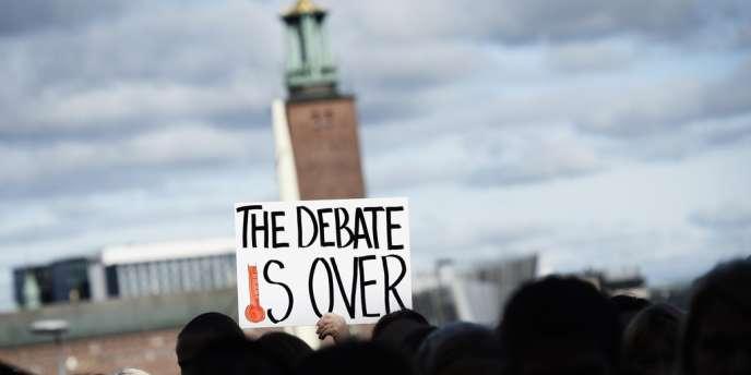 Manifestation devant la réunion du GIEC, le 27 septembre à Stockholm.