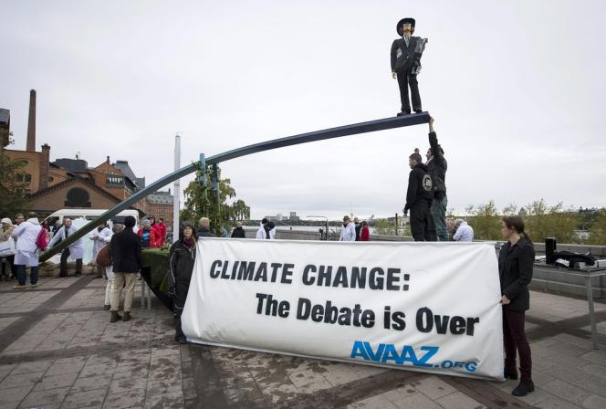 Action des militants d'Avaaz à Stockholm, le 27 septembre.