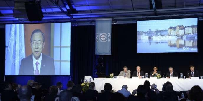 Le secrétaire général de l'ONU, Ban Ki-moon, s'est adressé aux membres du GIEC lors de la présentation de leur cinquième rapport sur le climat, le 27 septembre, à Stockholm.