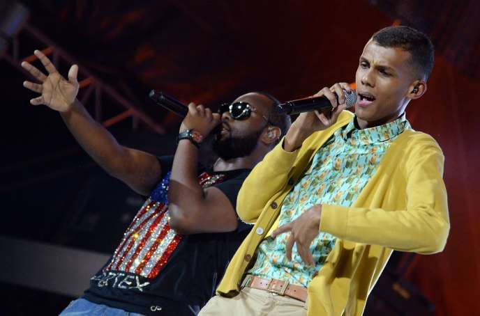 Maître Gims et Stromae lors du concert Urban Peace 3 au Stade de France, le 28 septembre.