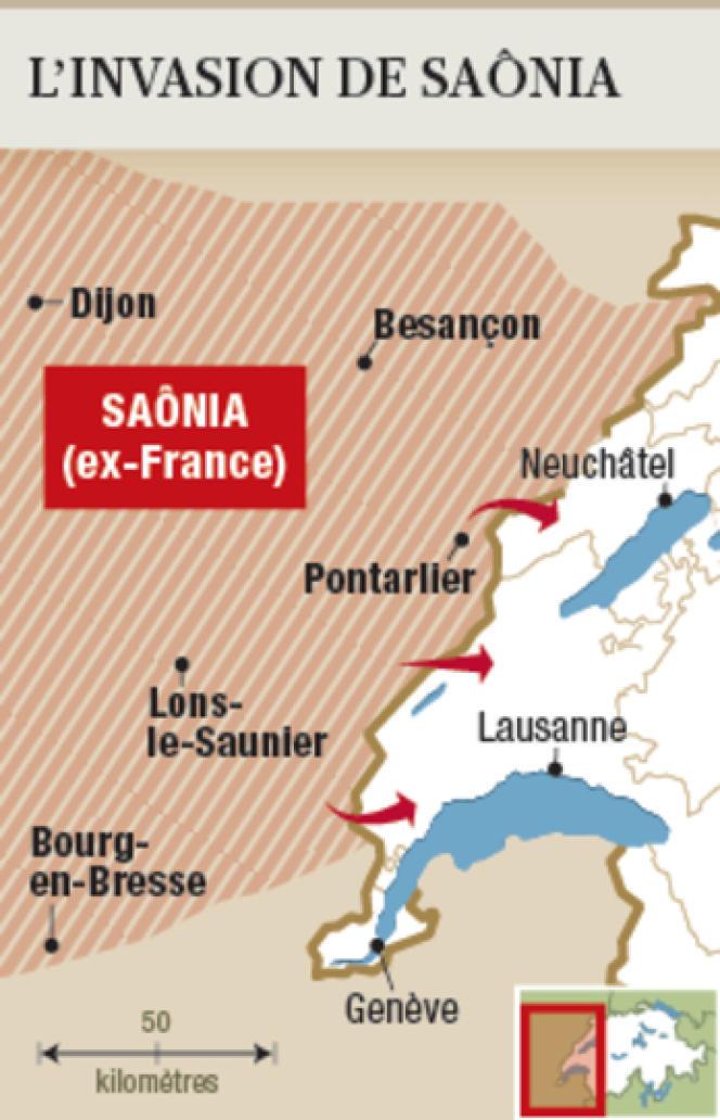 La Saônia, correspondant au Jura français, décide d'attaquer la Suisse à partir de trois points de passage, proches de Neuchâtel, Lausanne et Genève, selon une carte reproduite par