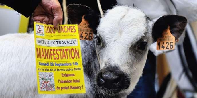 Manifestation à l'appel de la Confédération paysanne contre la ferme des «1000 vaches», le12septembre dans la Somme.