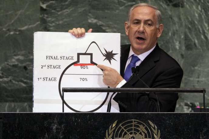 Le premier ministre israélien, Benyamin Nétanyahou, lors de son intervention sur le nucléaire iranien à l'ONU, le 27 septembre 2012.