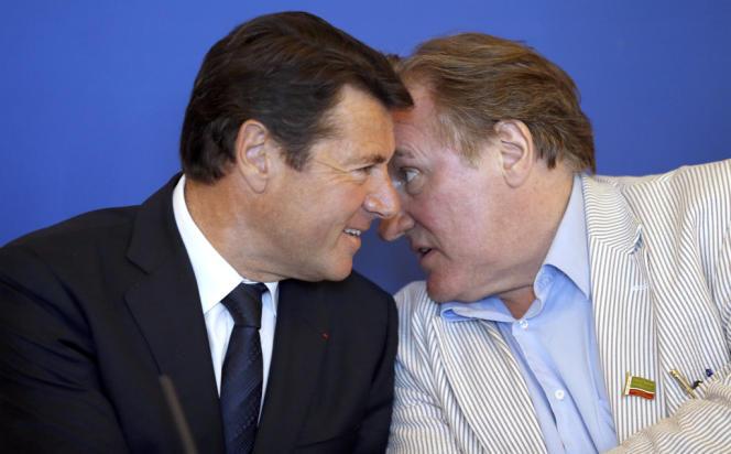 Le maire (UMP) de Nice, Christian Estrosi, et l'acteur Gérard Depardieu, en juin, lors du Festival du cinéma russe.