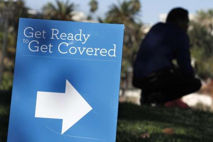 Campagne de promotion pour la réforme de l'assurance-santé du président Barack Obama (Affordable Care Act), l'Obamacare, le 28 septembre à Los Angeles.