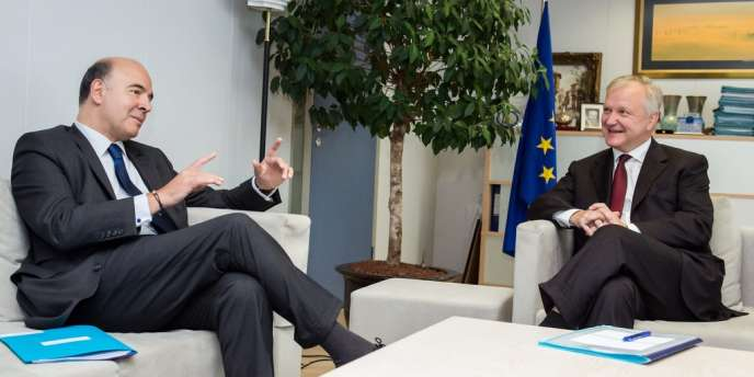 Le ministre de l'économie Pierre Moscovici avec le commissaire européenne aux affaires économiques, Olli Rehn, le 26 septembre 2013.