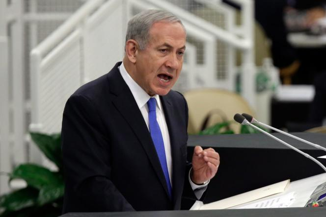 Le premier ministre israélien Benyamin Nétanyahou, lors de son discours devant l'Assemblée générale des Nations unies, mardi 1er octobre.