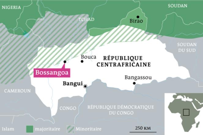 Bossangoa est située à 305 km au nord de Bangui.
