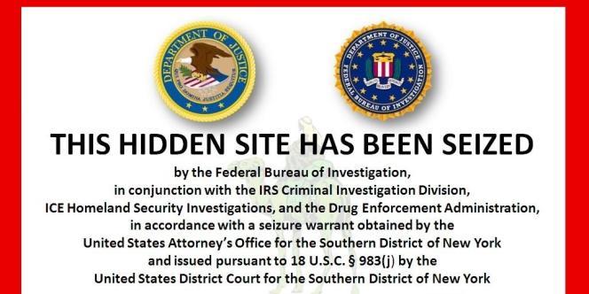 Capture du site Silk Road après sa fermeture par le FBI.