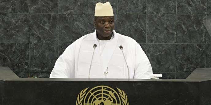 Le président de Gambie, Yahya Jammeh, le 27 septembre à l'Assemblée générale de l'ONU.