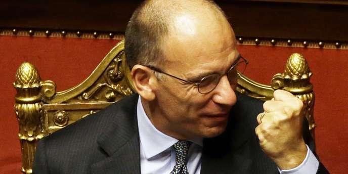 Le président du conseil, Enrico Letta, mercredi 2 octobre au Sénat, à Rome.