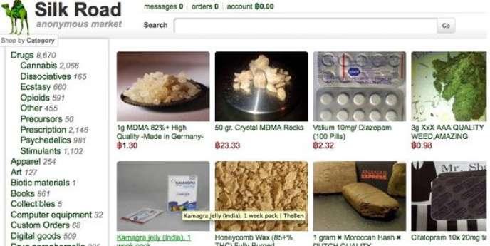 Capture écran du site Silk Road.