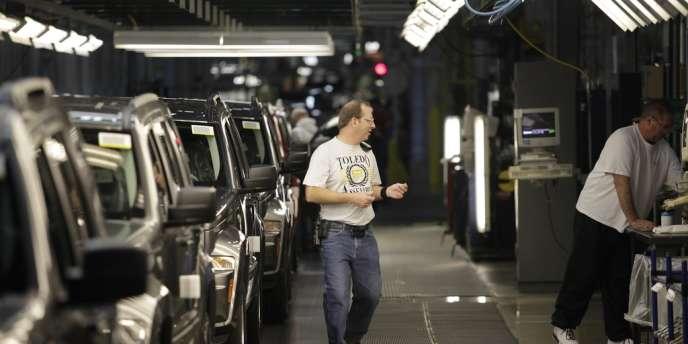 Dans une usine d'assemblage du groupe Chrysler, à Toledo (Ohio), en novembre 2011. Le constructeur américain vient de réaliser son meilleur mois d'octobre depuis 2007.