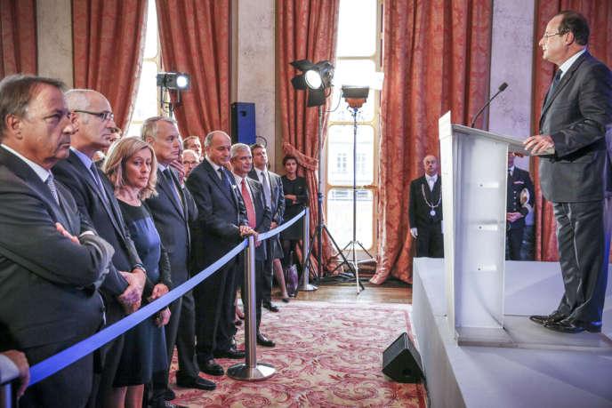 Pendant le discours de François Hollande devant les membres du gouvernement, au Conseil constitutionnel, le 3 octobre.