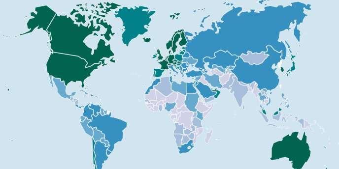 Carte des inégalités en matière d'accès à Internet dans le monde.