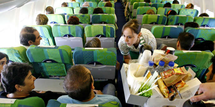A bord d'un avion de la compagnie low cost Transavia, filiale d'Air France.
