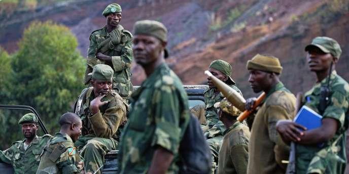 Des soldats de l'armée congolaise (FARDC) déployés près de Goma, dans l'est de la RDC.
