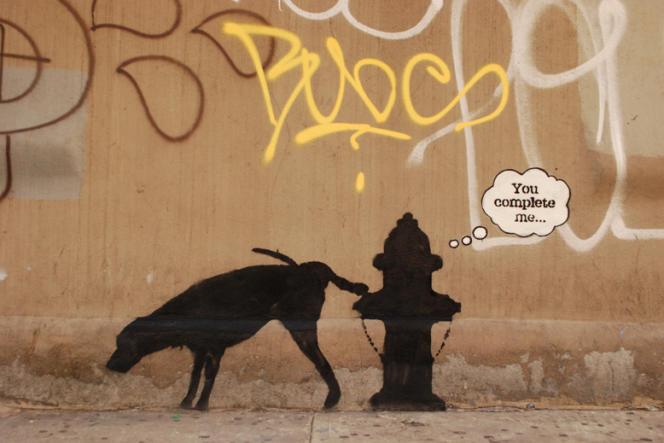 Pochoir de Banksy réalisé le 3 octobre 2013 à Midtown (New York).