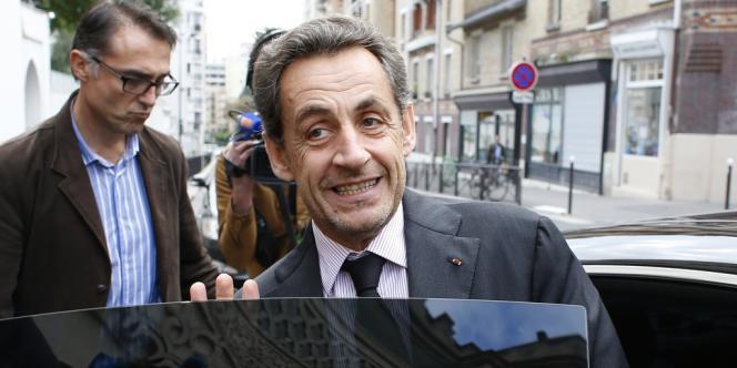 Nicolas Sarkozy, le 7 octobre à Paris, après un rendez-vous avec le recteur de la grande mosquée de Paris.
