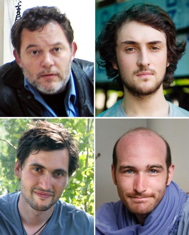 Les quatre journalistes français retenus en otage en Syrie (de haut en bas et de gauche à droite : Didier François, Edouard Elias, Pierre Torres et Nicolas Hénin).