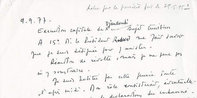 Monique Mabelly a légué ce manuscrit à son fils, Rémy Ottaviano, qui l'a remis il y a quelques semaines à Robert Badinter. En accord avec la famille, M. Badinter a transmis ce document exceptionnel au